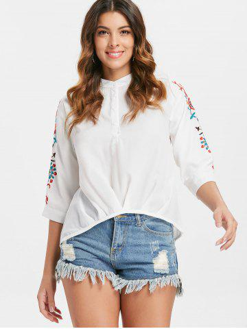 Embroidered Henley Blouse