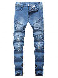 Hem Zipper Stretchy Pleated Ripped Biker Jeans -