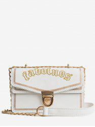 Metal Chain Flap Faux Leather Crossbody Bag -