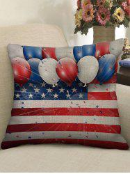 Balloon American Flag Print Decorative Linen Sofa Pillowcase -
