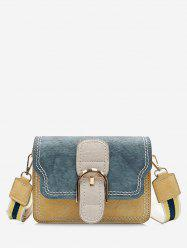 PU Leather Color Block Stitching Buckled Crossbody Bag -