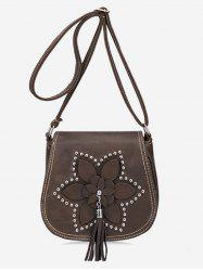 Flap Flower Tassel Chic Studs Crossbody Bag -