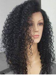Long Inclined Bang Fluffy Deep Wave Synthetic Lace Front Wig -