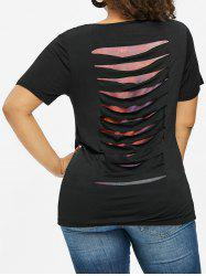 Plus Size Ripped Mesh Insert T-shirt -