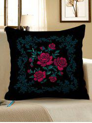 Vintage Flowers Print Decorative Linen Sofa Pillowcase -