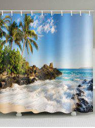Coconut Palm Sea Wave Printed Waterproof Bath Curtain -