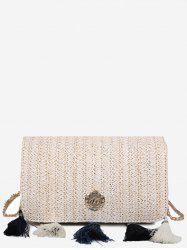 Tassels Metal Casual Straw Crossbody Bag -