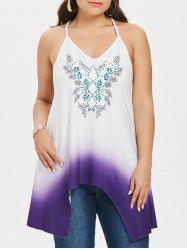 Plus Size Vines Print Ombre Tank Top -
