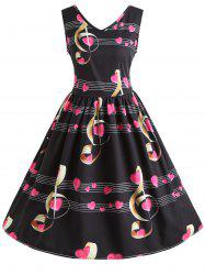 Musical Notes Heart Print Vintage Dress -