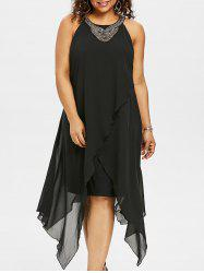 Plus Size Sleeveless Asymmetric Overlap Dress -