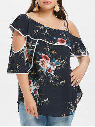 Plus Size Ruffle Cutout Skew Collar Blouse -