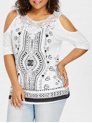 Cold Shoulder Plus Size Applique Printed Top -