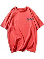Color Block Chinese Character Print Tee -