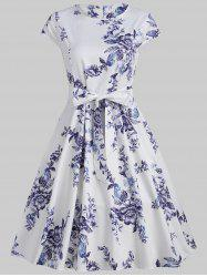 Floral Print Cap Sleeve Vintage Dress with Belt -