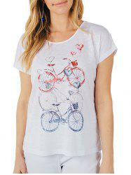 T-Shirt Imprimé Bicyclette Vintage Brillant -