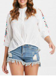 Embroidered Henley Blouse -