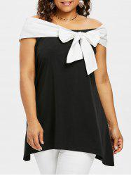 Plus Size Off The Shoulder Bowknot Embellished Top -