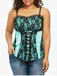 Plus Size Lace Up Empire Waist Tank Top -