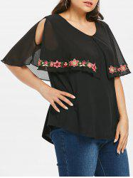 Plus Size Flower Embroidered Capelet T-shirt -