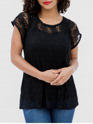 Hollow Short Sleeve Lace Blouse -