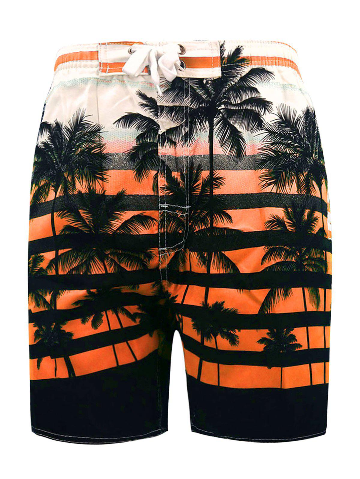 Chic Lace Up Coconut Palm Sunset Print Shorts