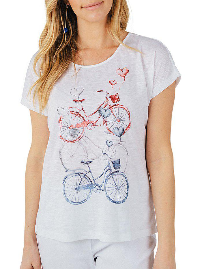 T-Shirt Imprimé Bicyclette Vintage Brillant