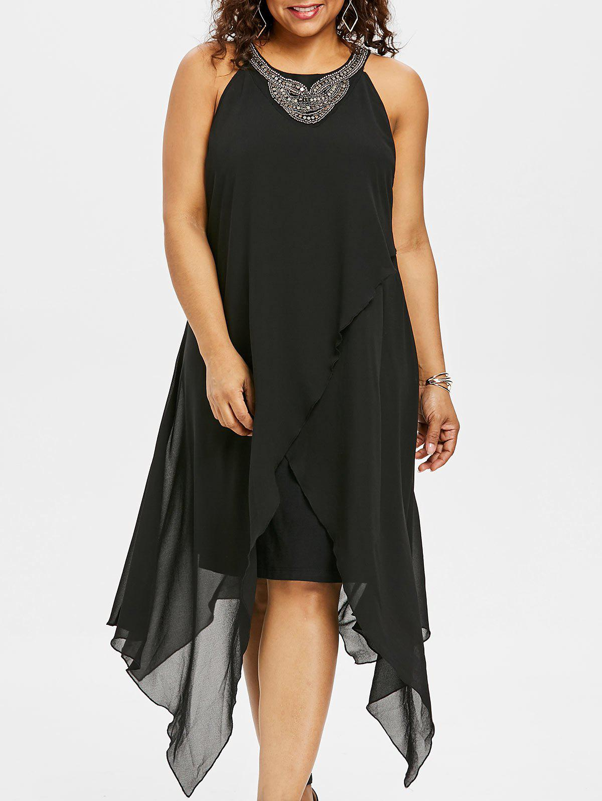 Outfit Plus Size Sleeveless Asymmetric Overlap Dress