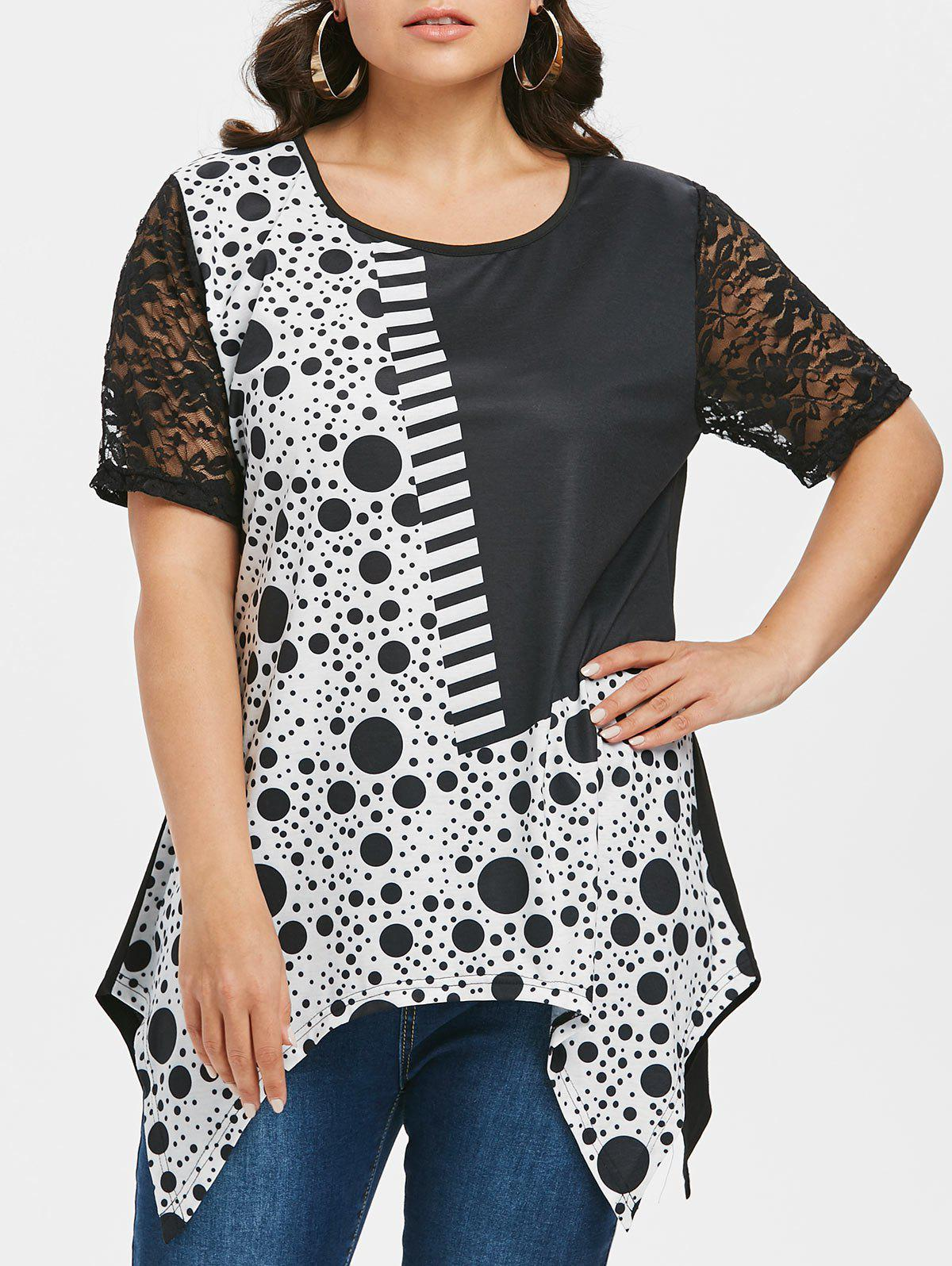 60c15ab0126a96 57% OFF   2019 Polka Dot Lace Insert Plus Size T-shirt