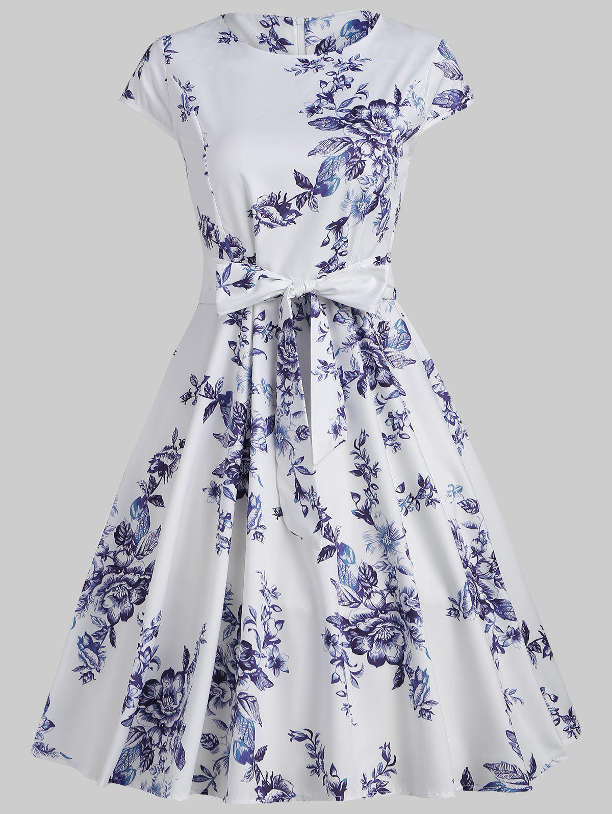Online Floral Print Cap Sleeve Vintage Dress with Belt