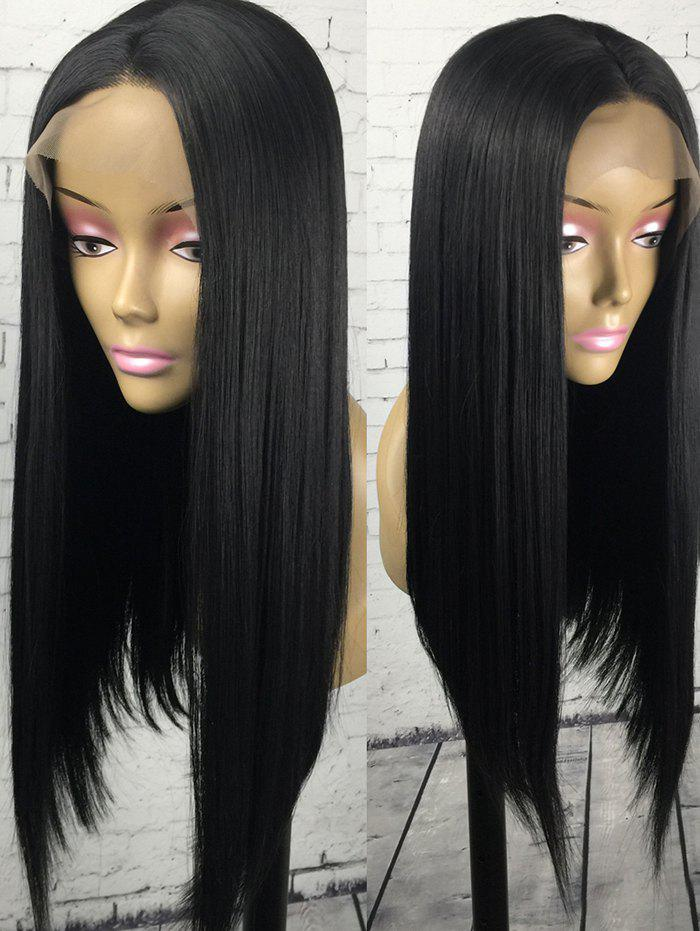 Hot Long Center Parting Straight Synthetic Lace Front Wig