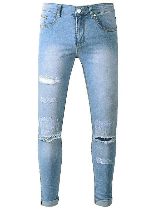 Trendy Zipper Fly Scratches Hole Jeans