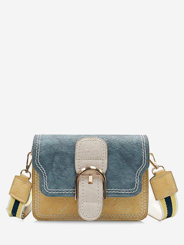 Outfits PU Leather Color Block Stitching Buckled Crossbody Bag