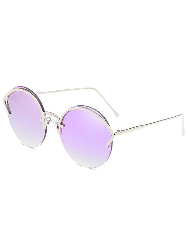 Outfit Unique Metal Half Frame Round Sunglasses