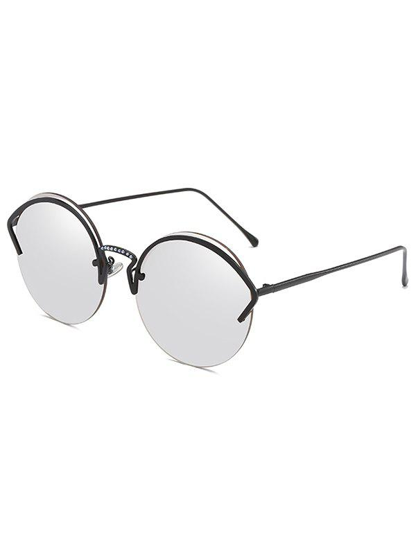 Fancy Unique Metal Half Frame Round Sunglasses