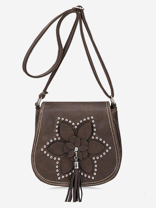 Best Flap Flower Tassel Chic Studs Crossbody Bag