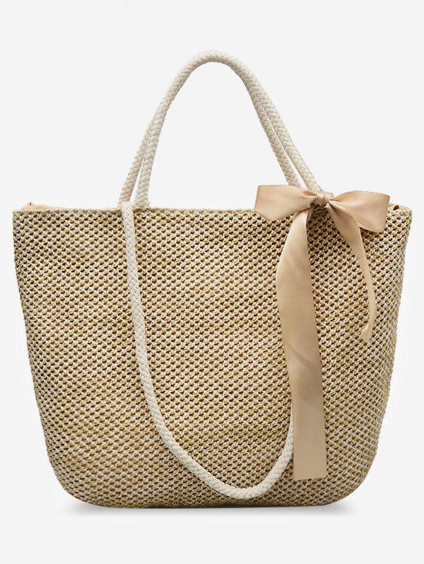 Fancy Outdoor Shopping Vacation Straw Bow Tote Bag