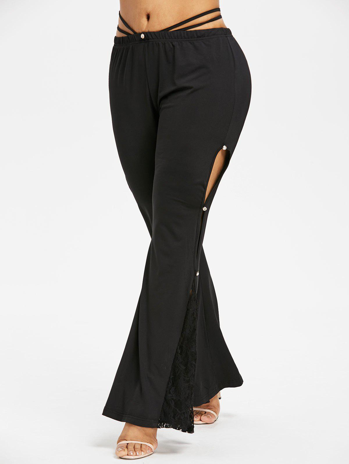 Store Plus Size Lace Cut Out Flare Leggings