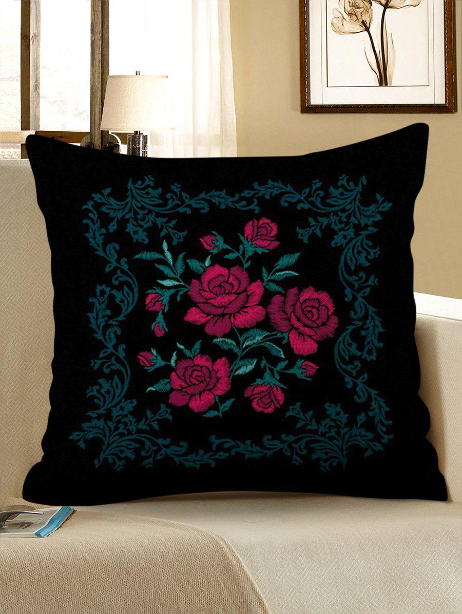 Store Vintage Flowers Print Decorative Linen Sofa Pillowcase