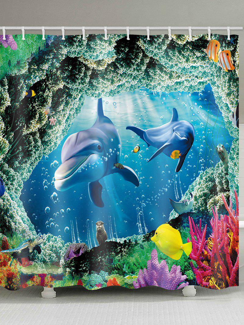Discount Undersea World Dolphin Printed Waterproof Bath Curtain