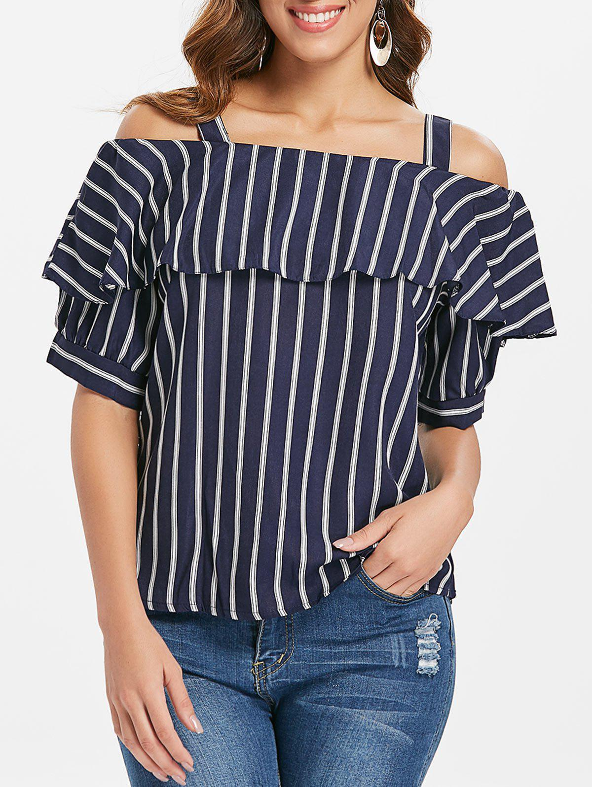 Affordable Ruffle Cold Shoulder Top