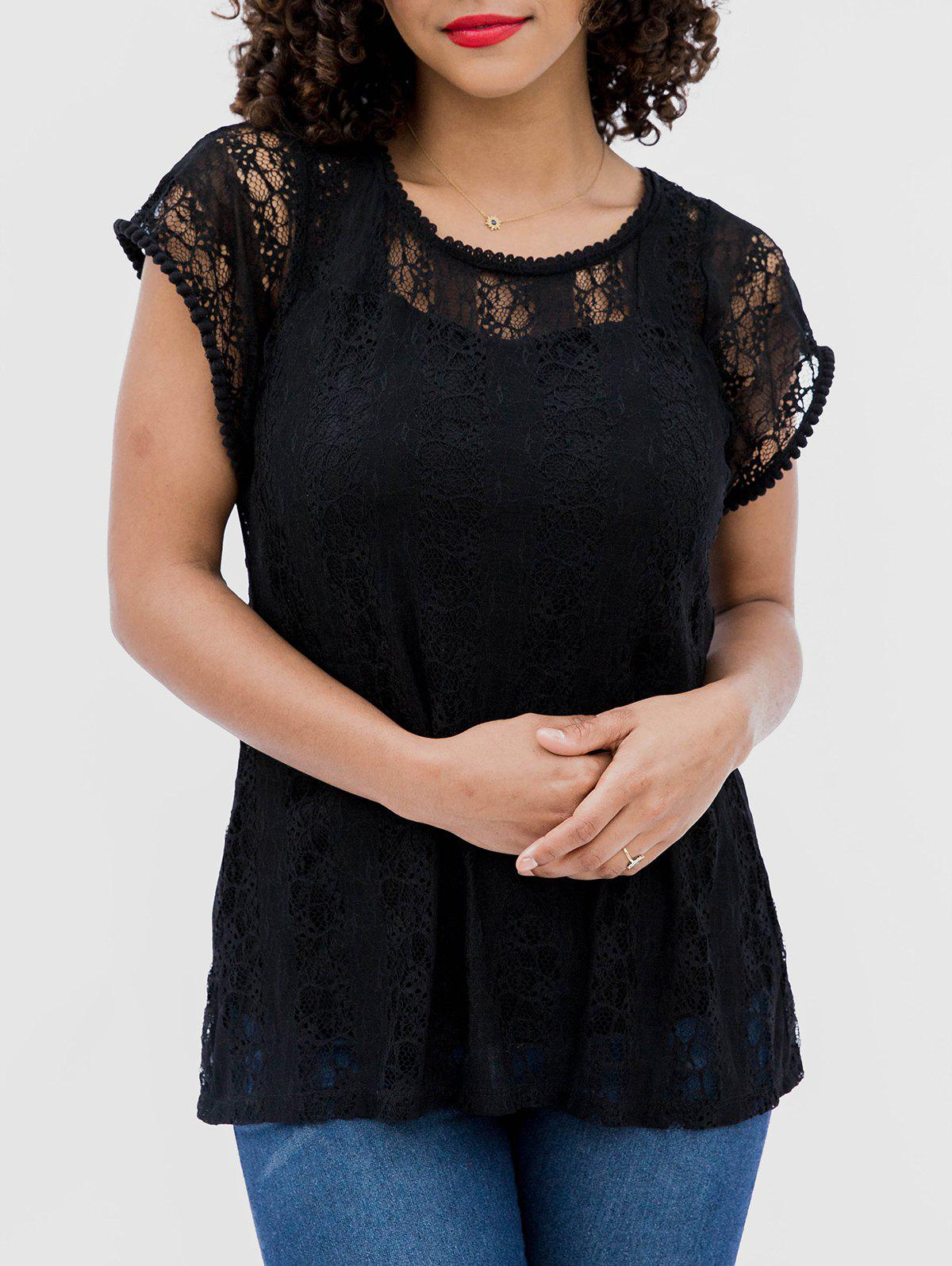 Online Hollow Short Sleeve Lace Blouse
