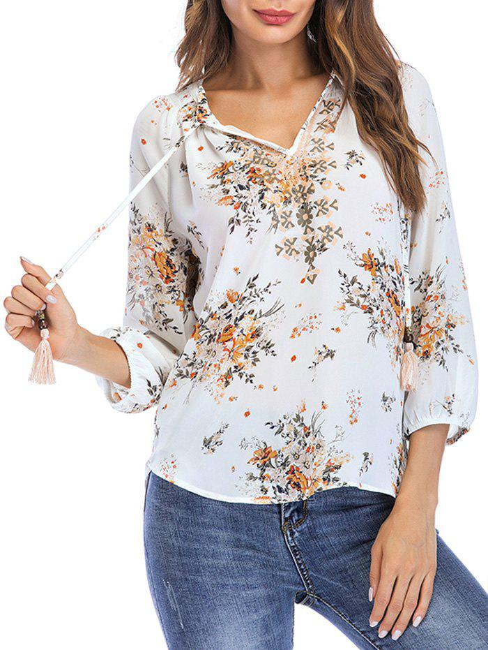 Affordable Bow Tie Floral Print Summer Blouse