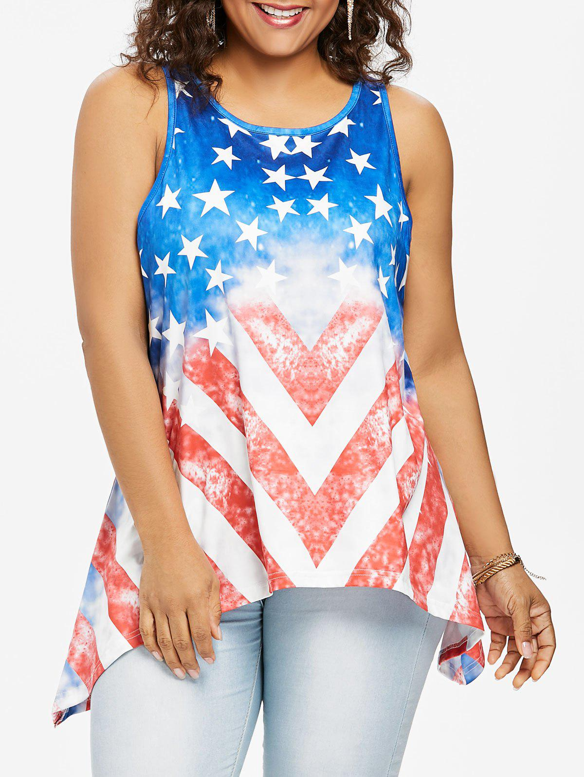 Shop American Flag Plus Size Asymmetrical Tank Top
