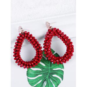 Water Drop Design Beads Decoration Rhinestone Earrings -
