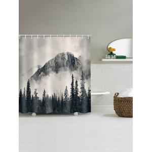 Landscape Printed Waterproof Bath Curtain -