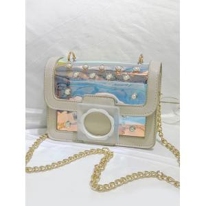Flapped Faux Pearls Jelly Laser Crossbody Bag -