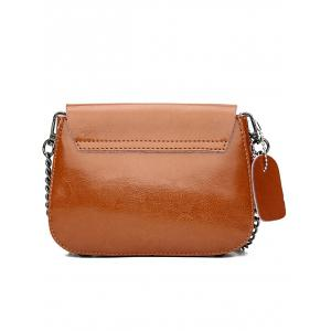 Retro Faux Leather Minimalist Chain Flapped Crossbody Bag -