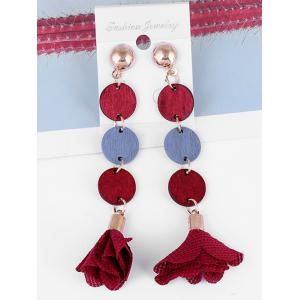 Floral Cloth Wooden Round Drop Earrings -