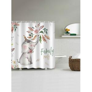 Flower Family Elephant Printed Waterproof Bath Curtain -