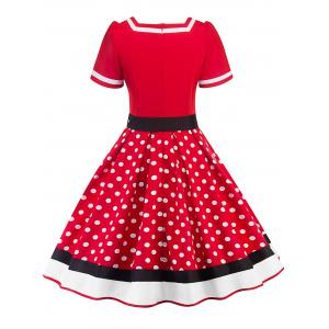 Sweetheart Neck Polka Dot Insert Swing Dress -